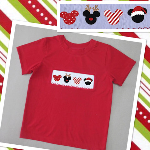 Christmas Mouse Head  Smocked Boys Tee - PRE SALE SHIP BY BEGINNING OF NOVEMBER