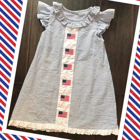 Patriotic Flag Ruffle Front Seersucker Dress