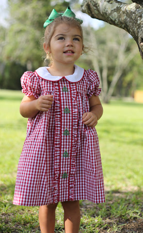 Red Check Ruffle Front Christmas Tree Dress -