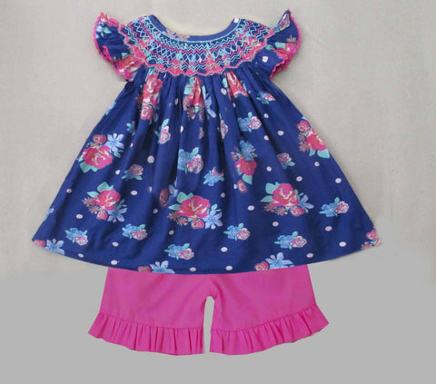 Navy Floral / Pink Short Set