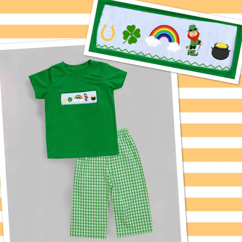 Boys St. Patrick's Day Check Pant Set - PRE SALE SHIP JANUARY