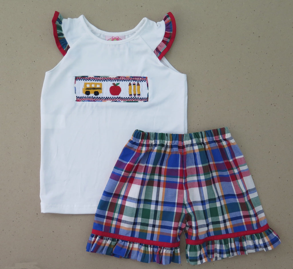 Bus and Apple Plaid Smocked Girls Short Set 18