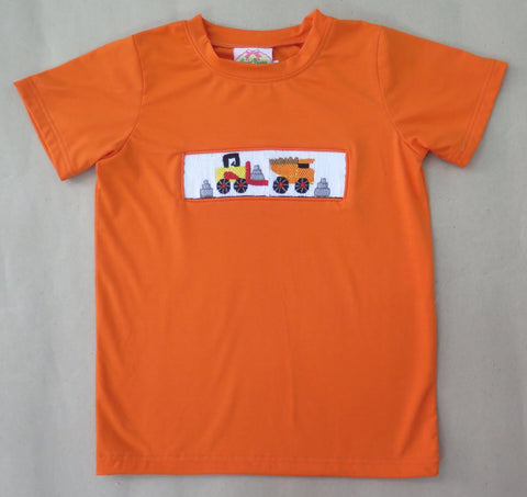 Construction Orange Smocked Tee Shirt