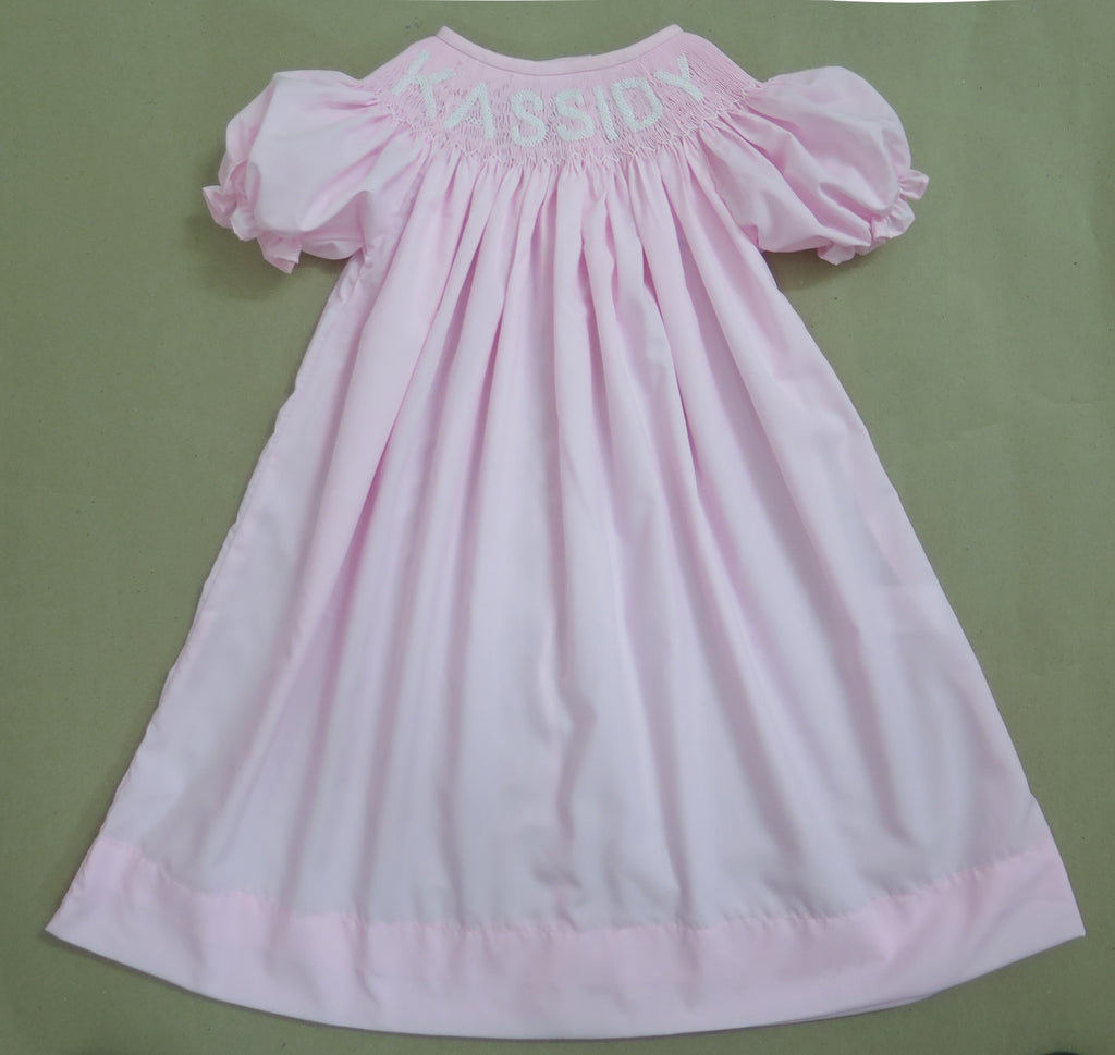 PINK WITH WHITE LETTERS PERSONALIZED DRESS - PRESALE - ALLOW 14 WEEKS
