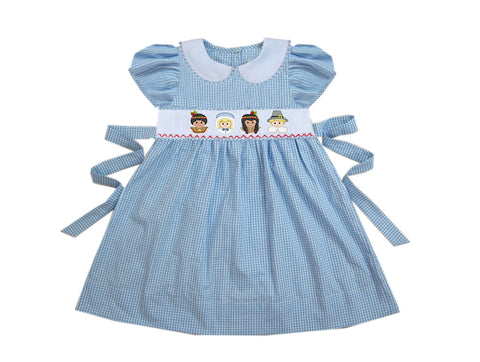 Pilgrim Blue Smocked Tie Back Dress