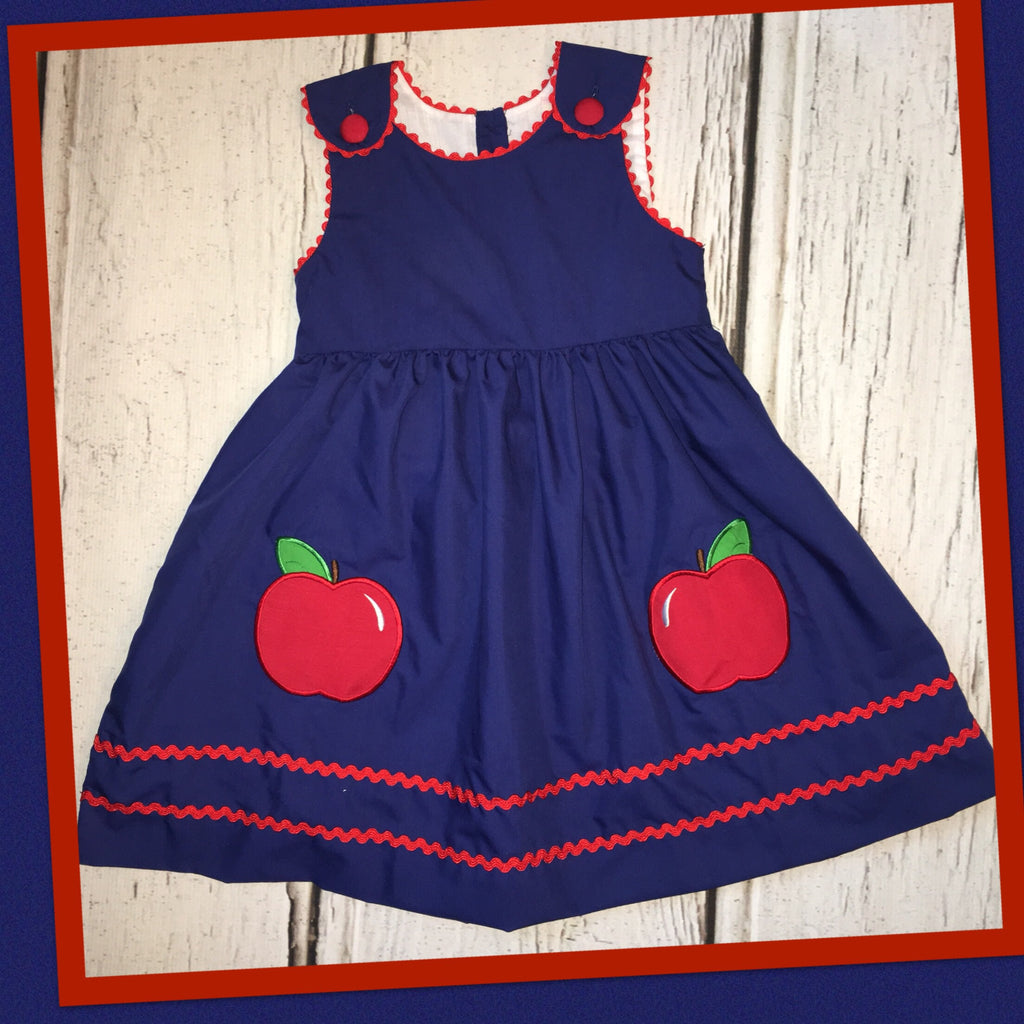 Navy Apple with Rick Rack Dress