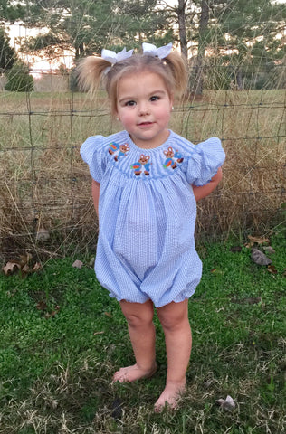 Peter Rabbit Inspired Smocked Bubble