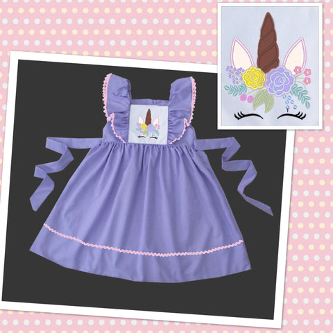 Unicorn Purple Embroidered Dress