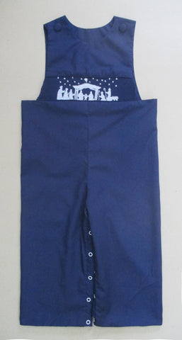 Navy Nativity Smocked Longall