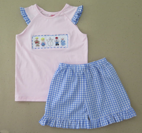 Frozen Friends Smocked Short Set - PRE SALE SHIPS AUGUST