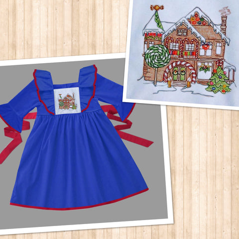 Blue Gingerbread House Embroidered Dress - PRESALE SHIPPING BY END OF OCTOBER