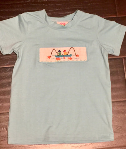 Blue Smocked Gone Fishing Tee
