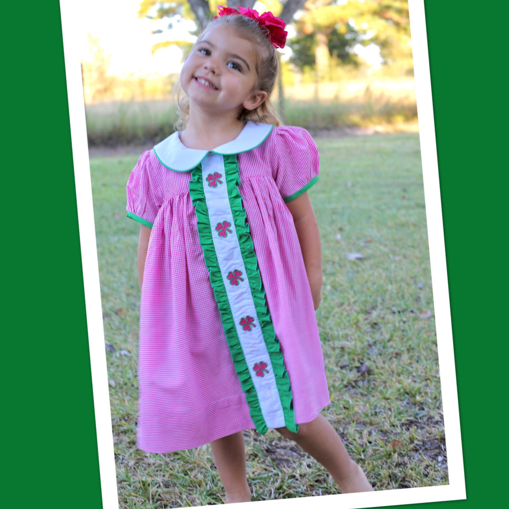 Pink Check Shamrock Ruffle Front Dress