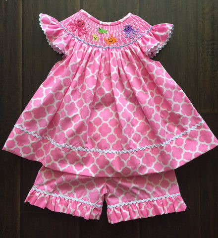 Pink Quatrafoil Sea Creature Smocked Short Set