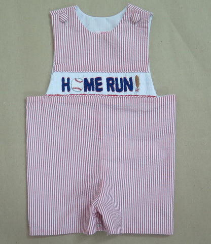 Homerun Smocked Seersucker Shortall