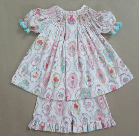 Cupcake Smocked / Embroidered Short Set