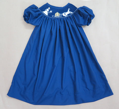 Navy Princess and Carriage Smocked Dress- Ready to ship