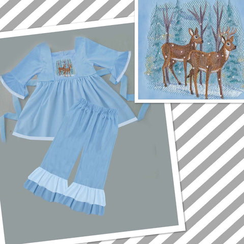 Blue Embroidered Winter Deer Pant Set - PRESALE SHIPPING BY END OF OCTOBER