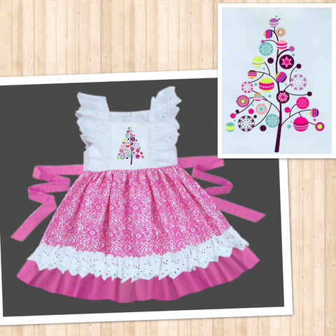 Pink Funky Christmas Tree Lace Embroidered Dress - PRE SALE SHIP BY BEGINNING OF NOVEMBER