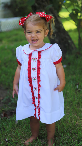 White Candy Cane Smocked Dress