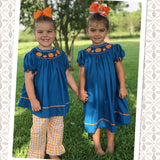 Girls Pumpkin Smocked Pant Set
