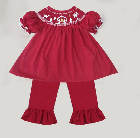 Red Smocked Nativity Pant Set  - PRESALE SHIPPING BY END OF OCTOBER