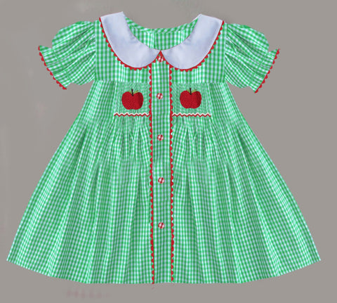 Green Check Smocked Apple Dress