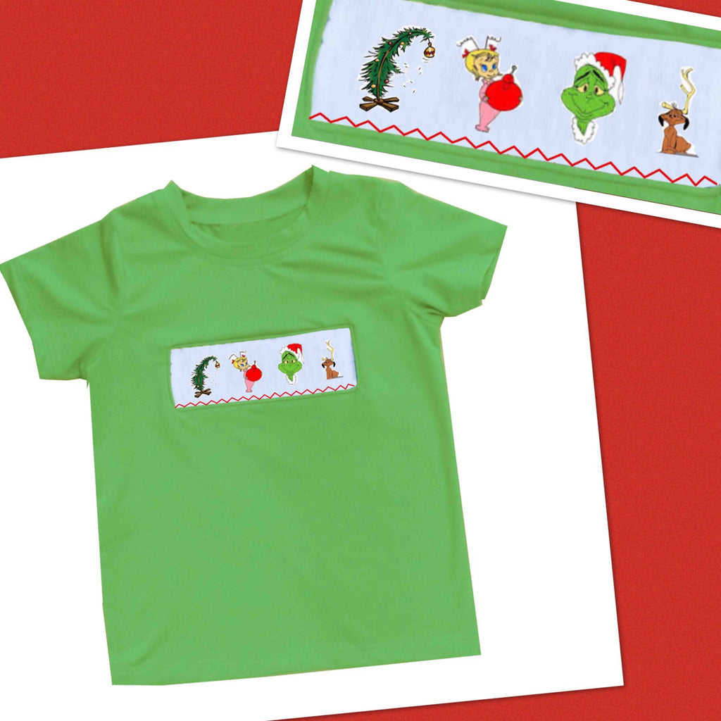 Grinch Smocked Boys Tee - Ready to Ship