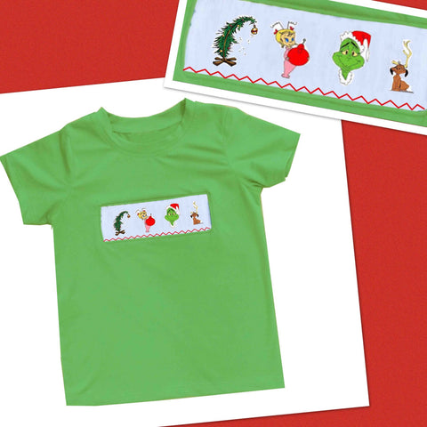 Grinch Smocked Boys Tee - PRE SALE SHIP BY BEGINNING OF NOVEMBER