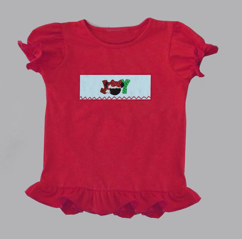 Girls Red Joy Mouse Smocked Tee - PRE SALE SHIP BY BEGINNING OF NOVEMBER