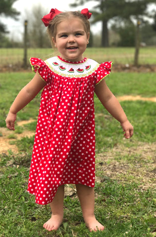 Watermelon Smocked Dress