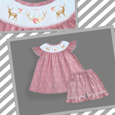 Deer Floral Chic Smocked Short Set- PRE SALE SHIPS BY BEGINNING OF MARCH