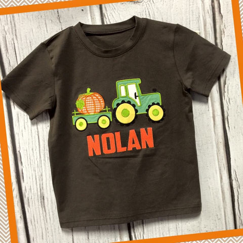 Pumpkin Tractor Brown Tee
