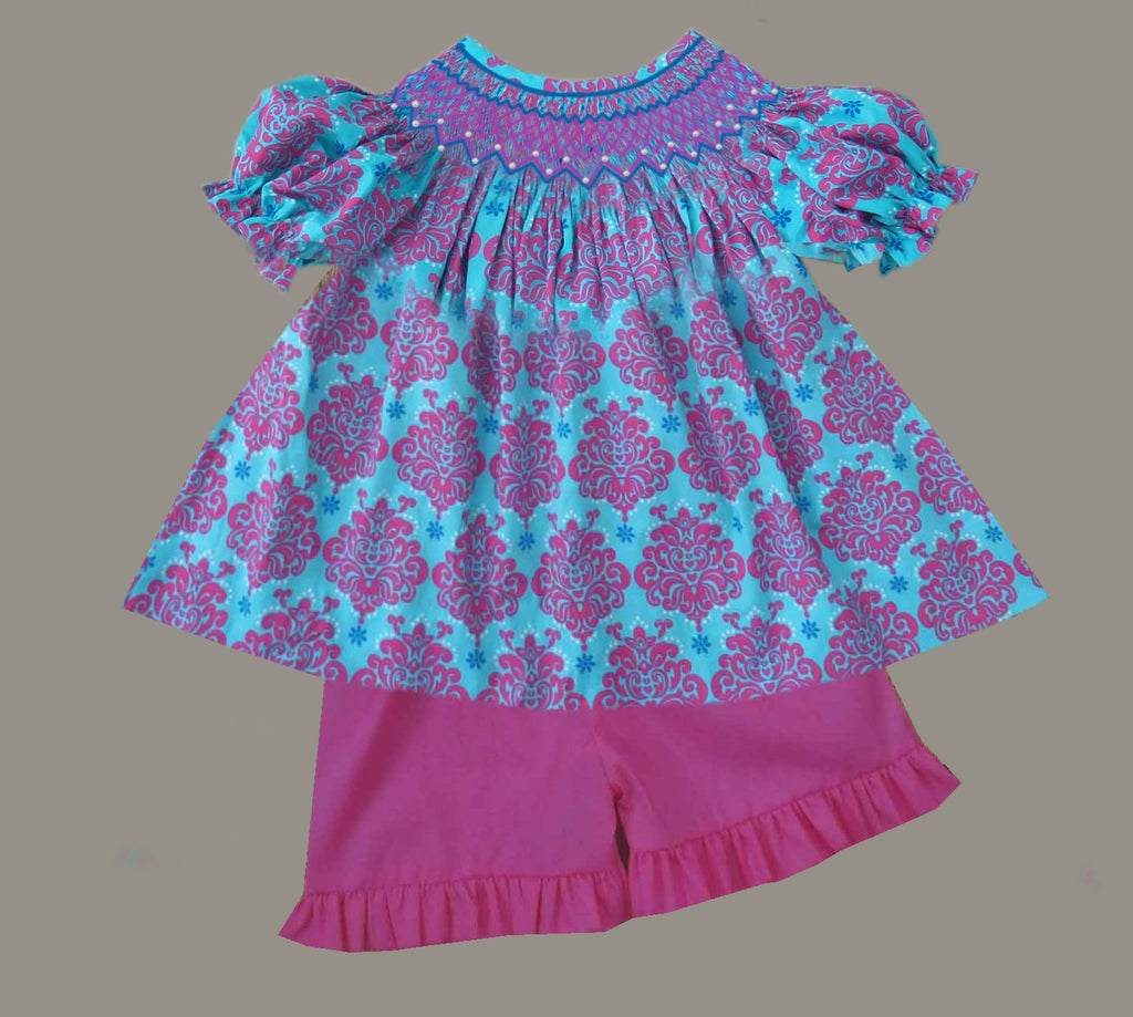 Pink and Blue Damask Smocked Short Set