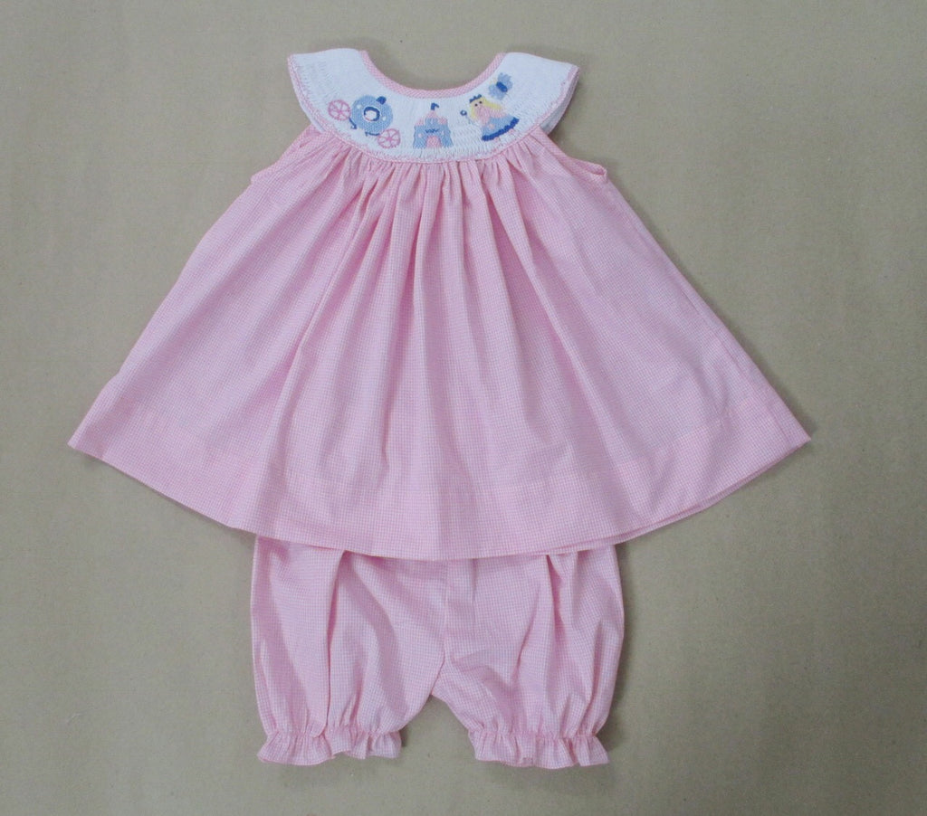 Smocked Pink Princess Bloomer Set