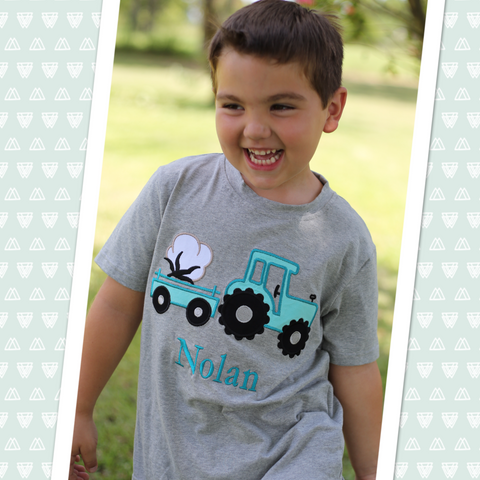 Grey Cotton Tractor Applique Tee