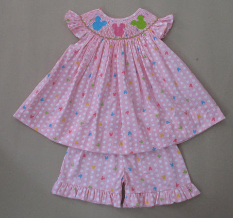 Pink Mouse Smocked Short Set