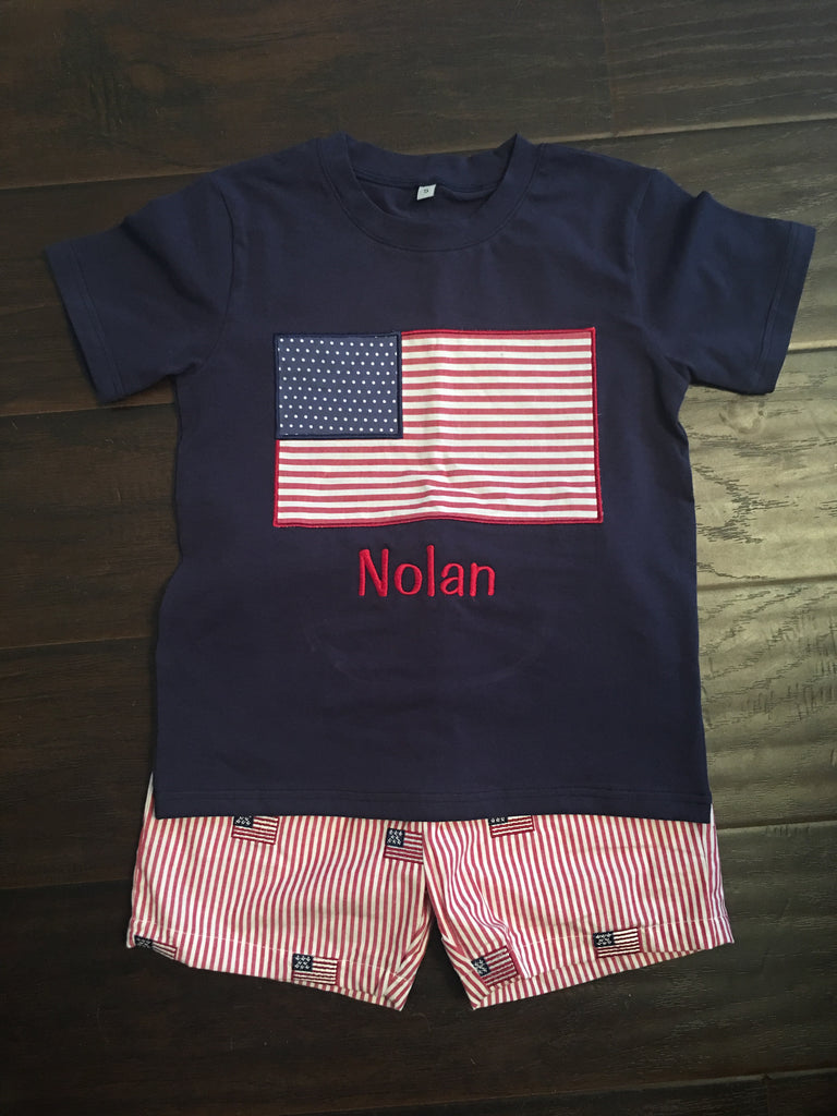 Flag Boys Applique Short Set