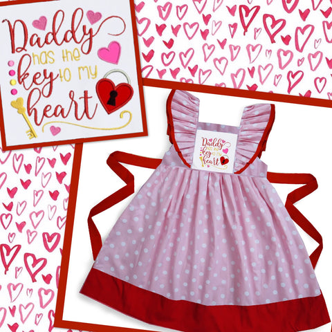 Daddy Has The Key To My Heart Embroidered Dress