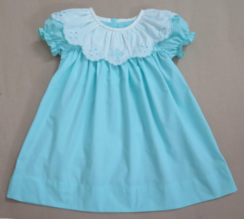 Aqua Cross Scalloped Dress - In Stock