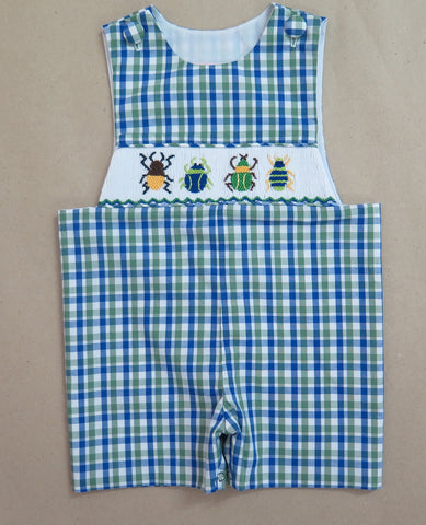 Bug Smocked Green and Blue Check Shortall