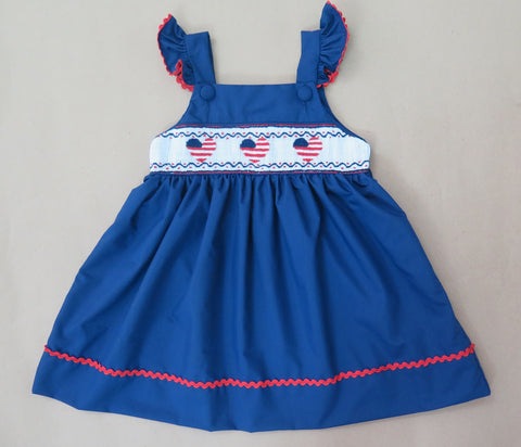American Heart Blue Flutter Smocked Dress