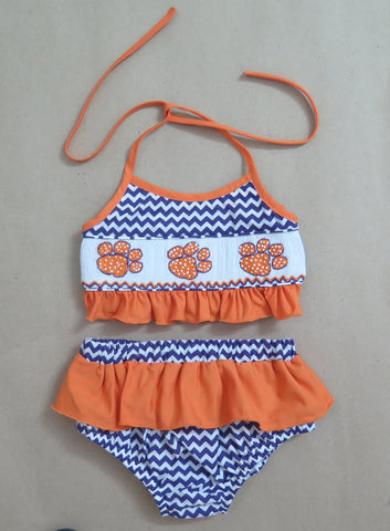 Paw Print Orange and Purple Smocked Two Piece Swim