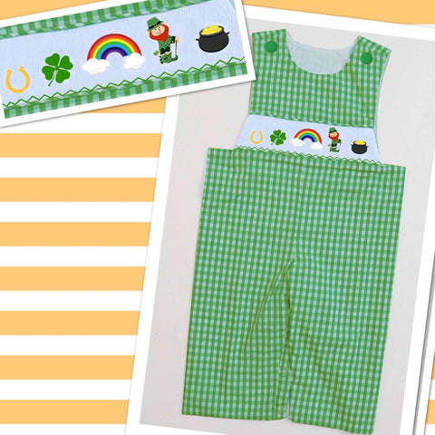 St. Patrick's Day Check Smocked Longall - Pre Sale Ships January