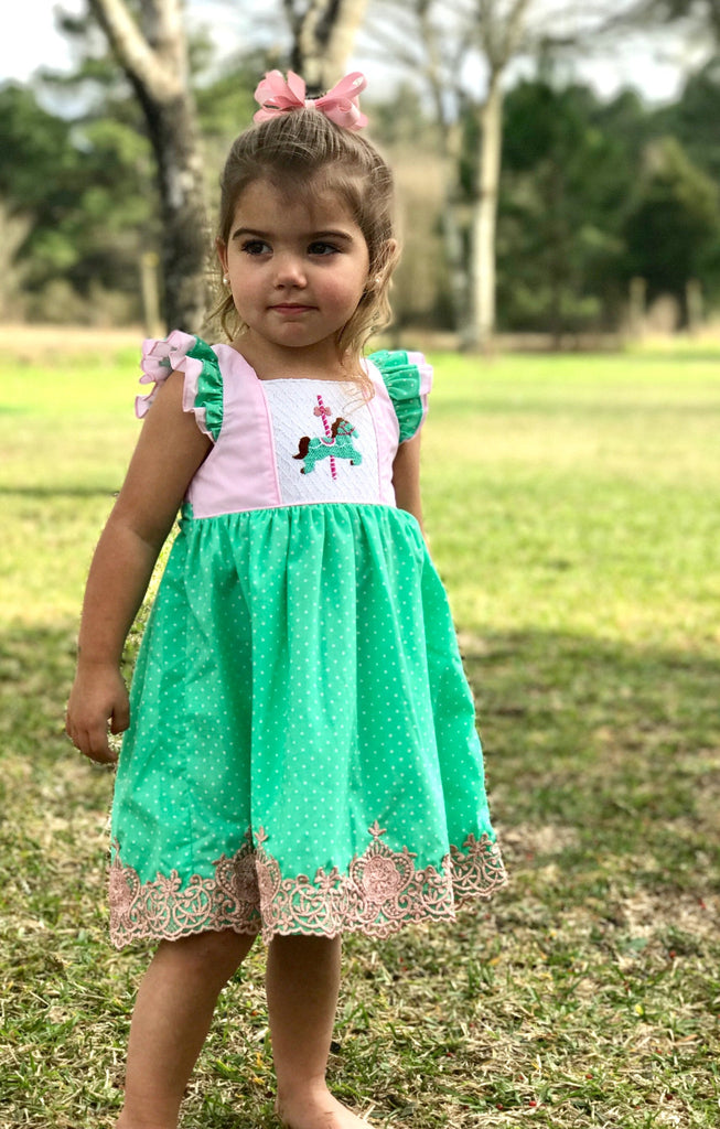 Mint Tie Back Carousel Lace Smocked Dress