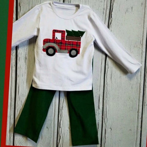 Applique Holiday Truck and Tree Pant Set