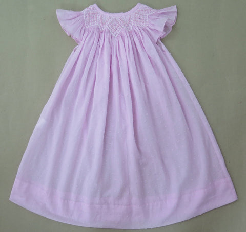 Pink Swiss Dot Smocked Dress