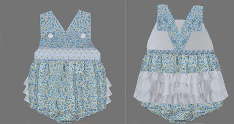Blue & Yellow Floral Ruffle Butt Smocked Bubble- Ready to ship