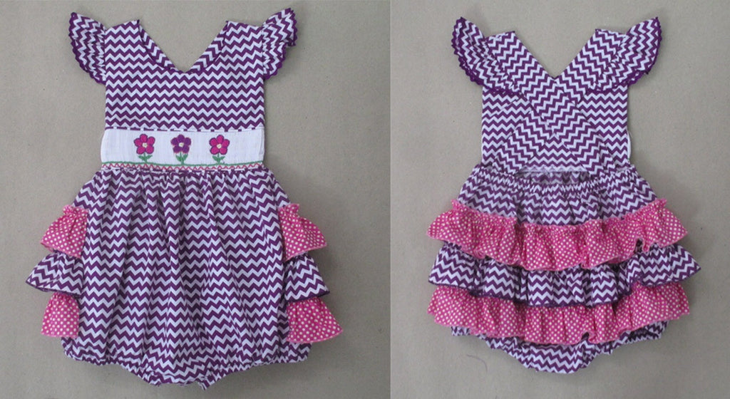 Purple Flower Ruffle Butt Smocked Bubble