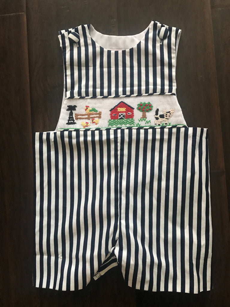 Navy Stripe Summer Farm Smocked Shortall